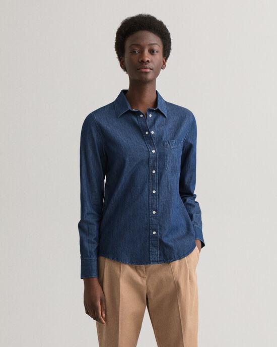 Contrast skjorta i chambraybomull