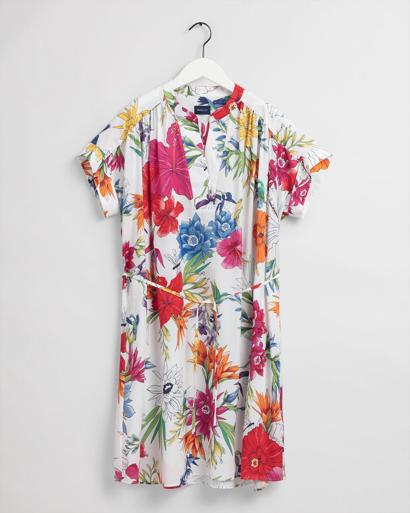 Humming Floral mönstrad popover-klänning