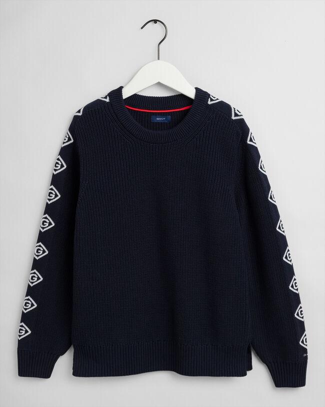 Detail Sleeve Rib Crew Neck Sweater