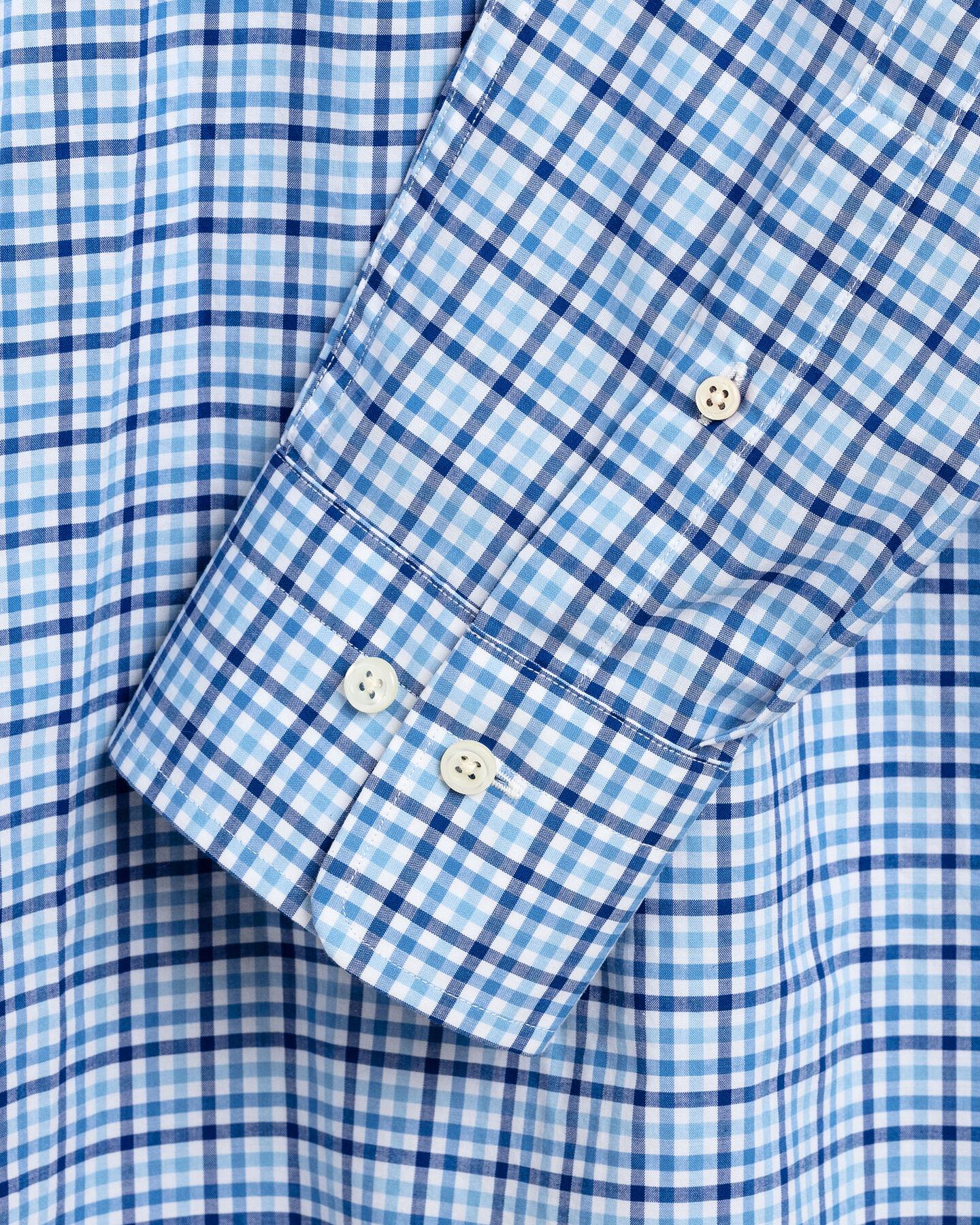 Regular fit trefärgad ginghamvävd poplinskjorta