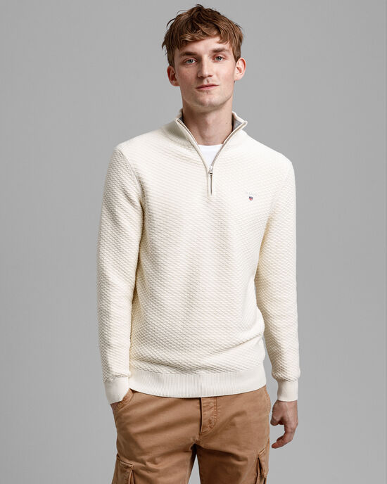 Triangle Texture Half-Zip Sweater