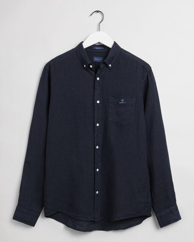 Regular Fit Plaggfärgad linneskjorta