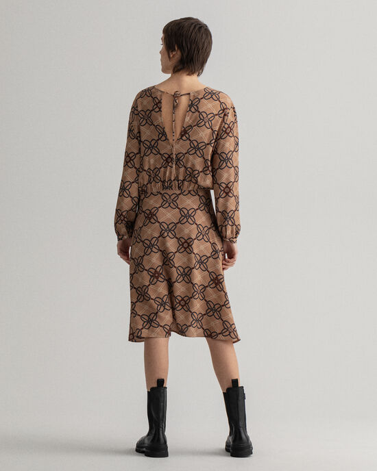 Rope mönstrad klänning i crêpeviskos