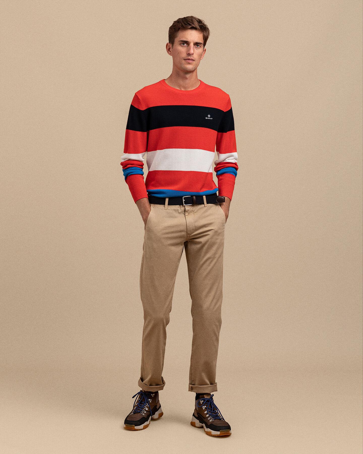 Multistripe Cotton Piqué Sweater