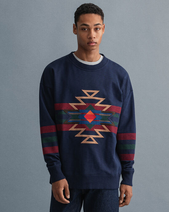 Relaxed fit Geometric sweatshirt med rund halsringning