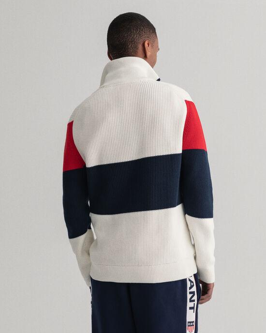 Graphic randig tröja med halv dragkedja