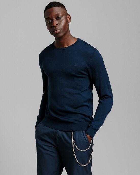 Tvättbar tröja i merinoull med rund halsringning