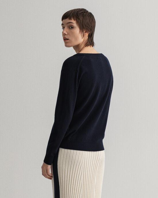 V-ringad tröja i superfin lammull