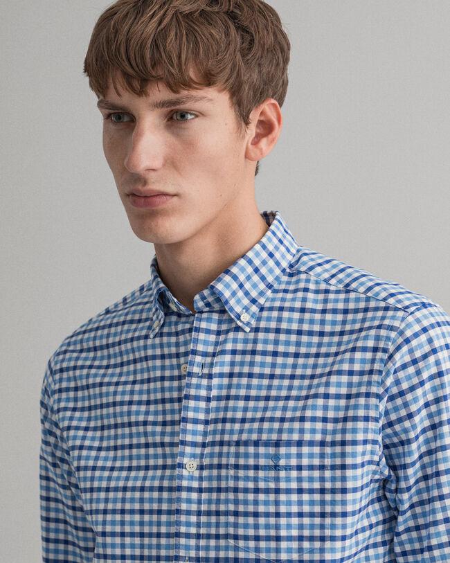 Regular Fit Tvåfärgad ginghamvävd oxfordskjorta