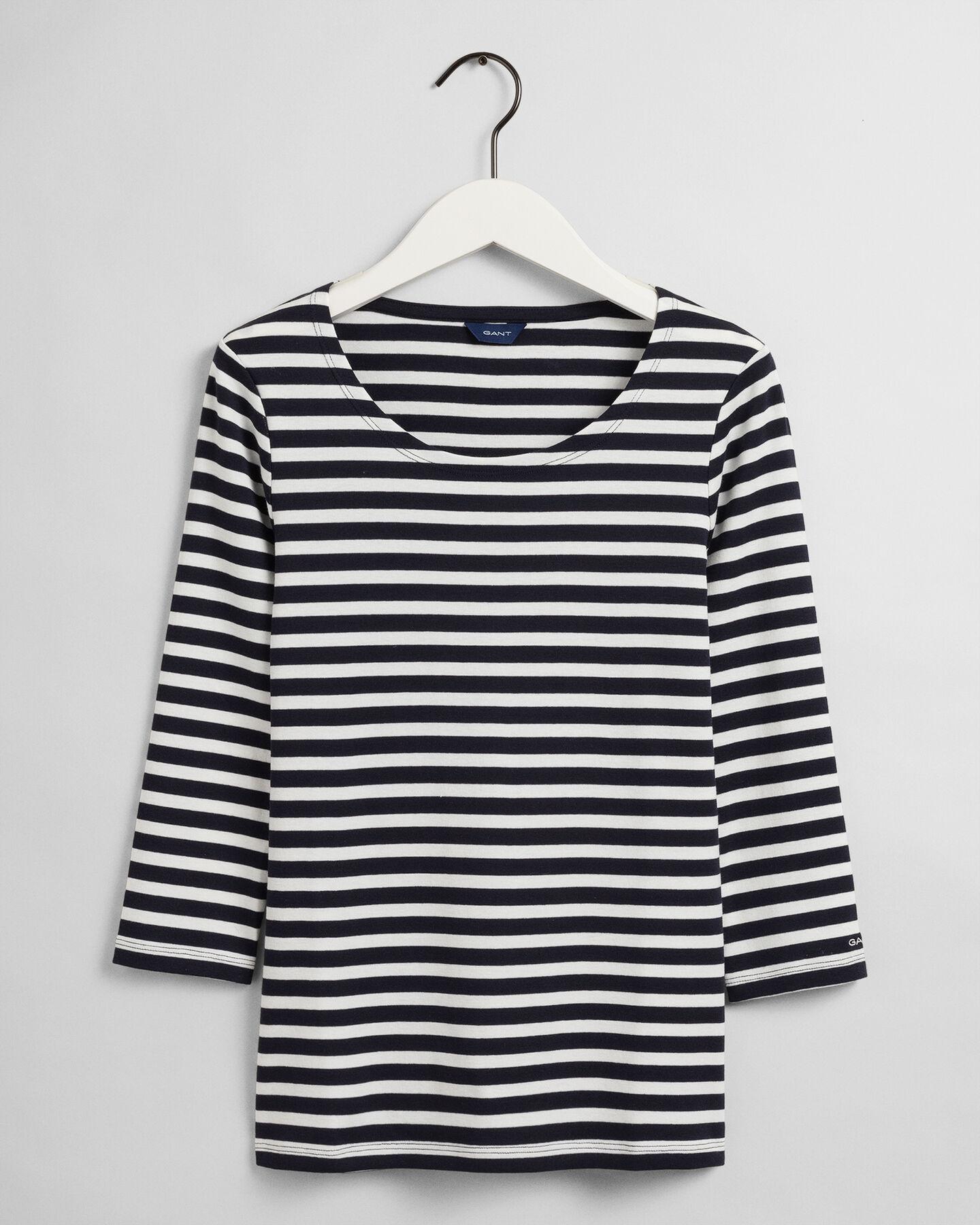 3/4-Sleeve Striped Rib T-Shirt