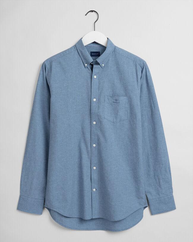Regular fit mikrorandig skjorta i bomull och linne