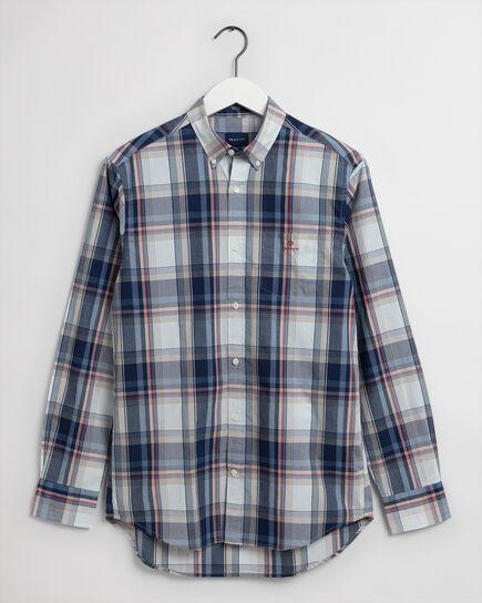 Regular Fit Tech Prep™ Washed Indigo Plaid Shirt