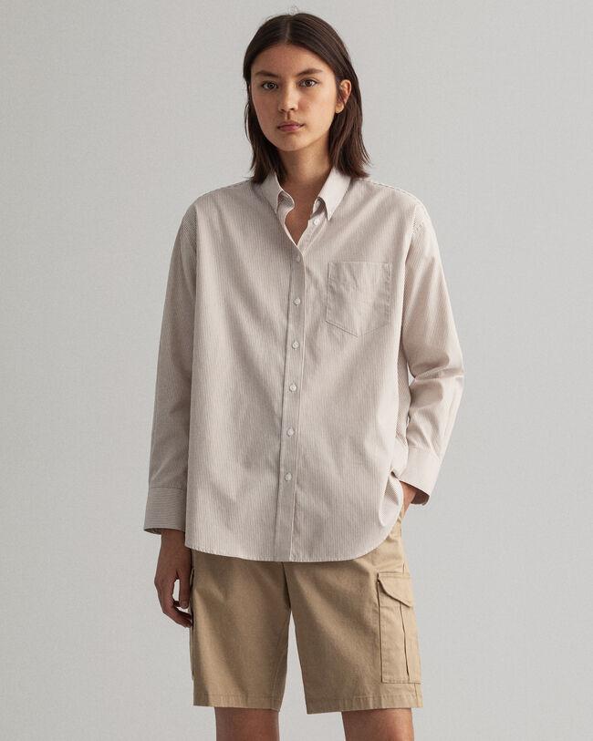 Relaxed fit randig pinpointvävd oxfordskjorta