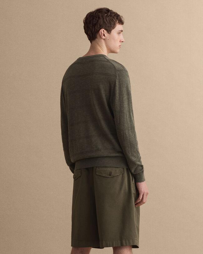 Rundhalsad tröja i bomull, silke och linne