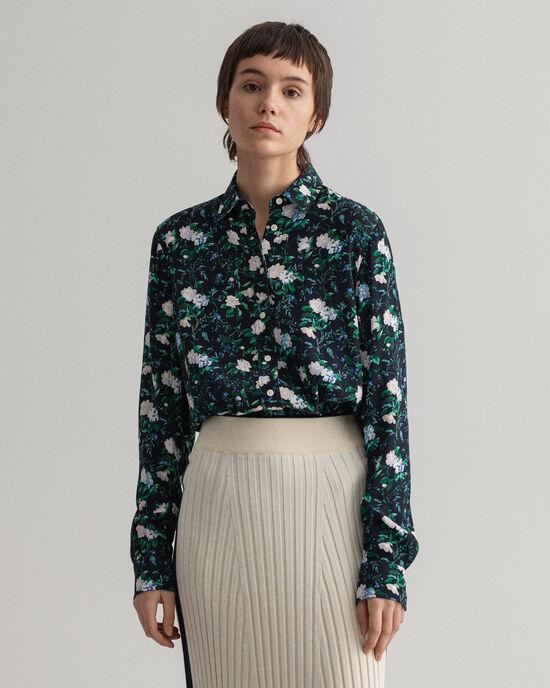 Rose mönstrad crêpeskjorta