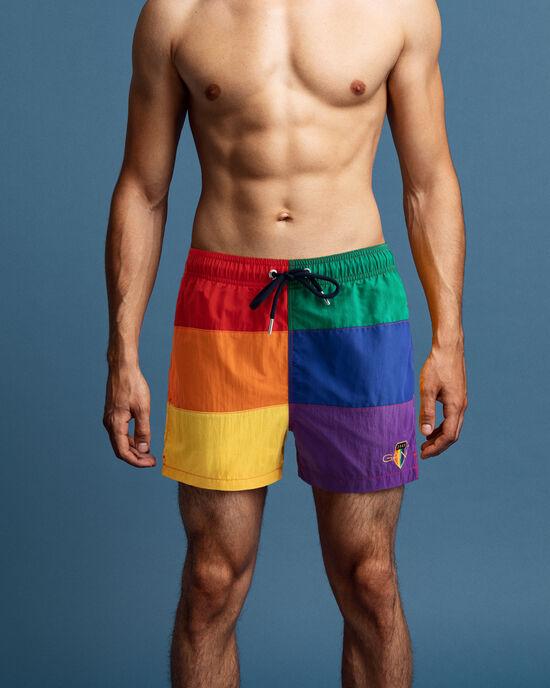 Pride korta blockfärgade badshorts