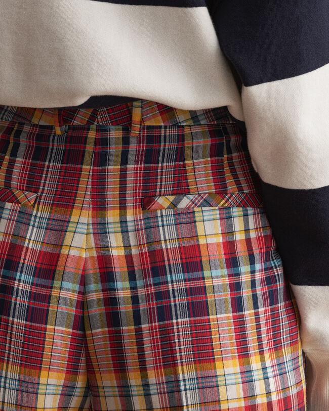 Rutiga byxor med veck och hög midja