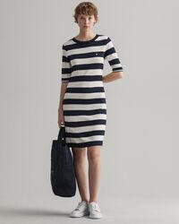 Jerseyklänning med breda ränder