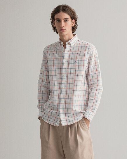 Regular fit rutig skjorta i bomull och linne