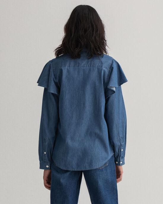Indigofärgad skjorta med puffärm och krås