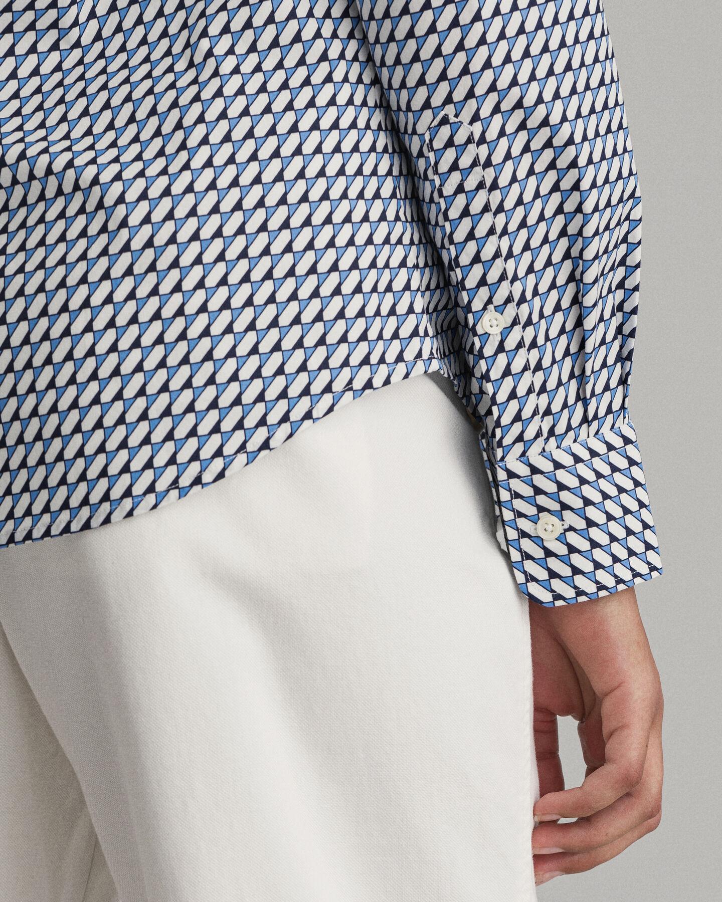 Poplinskjorta med geometriskt mönster och stretch