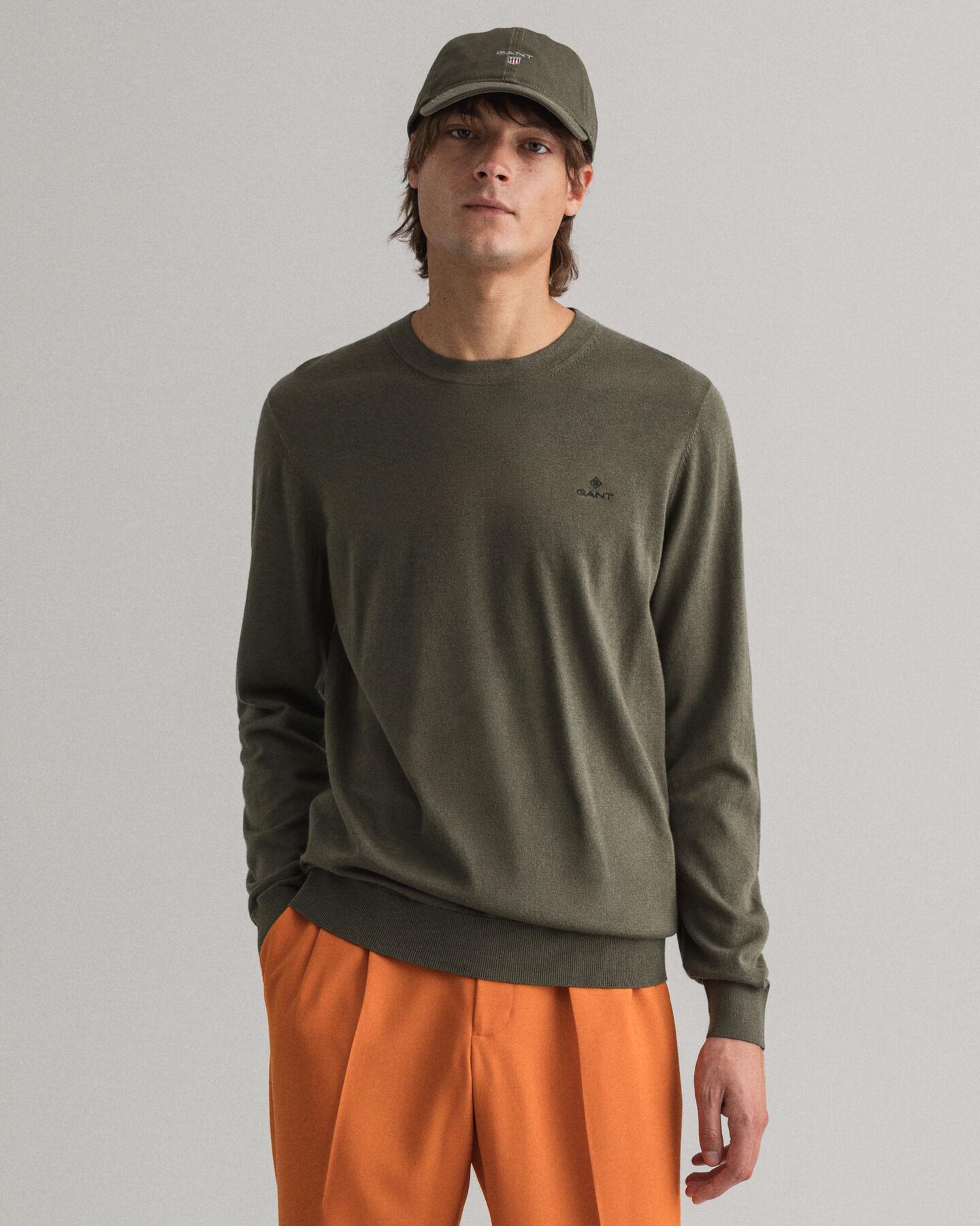 Rundhalsad tröja i bomull och kashmir
