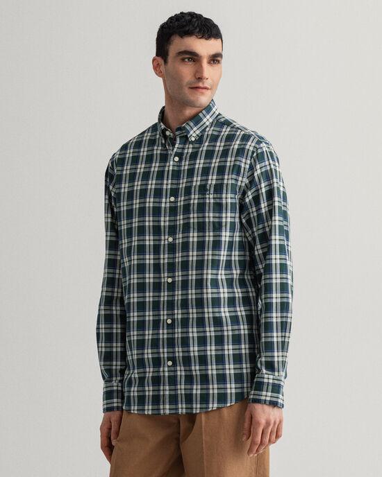 Regular fit Tech Prep™ indigofärgad rutig oxfordskjorta