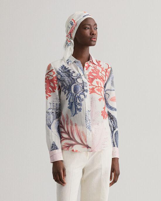 Seashell mönstrad skjorta i bomull och silke