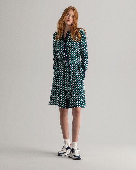 A-linjeformad skjortklänning med geometriskt tryck