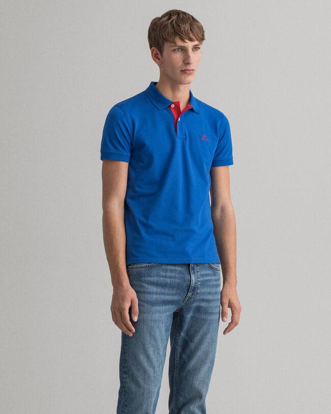 Contrast Collar Piqué Rugger