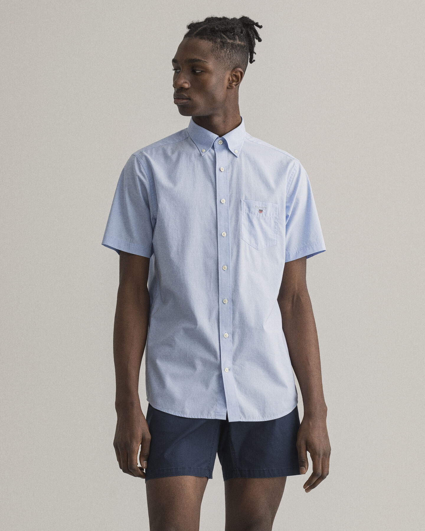 Regular fit kortärmad poplinskjorta