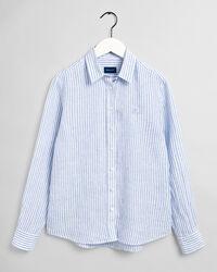 Randig skjorta i linnechambray