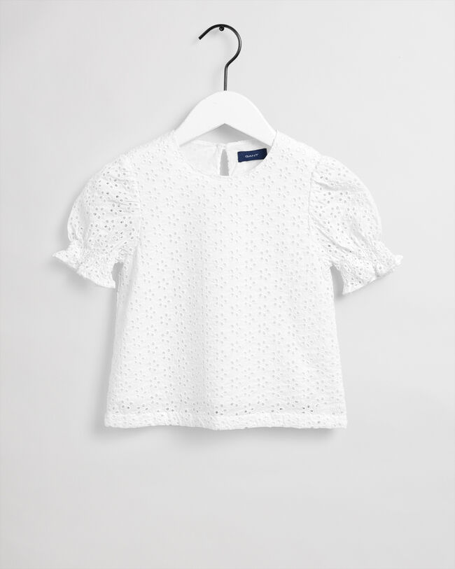 Girls blus med broderie anglaise