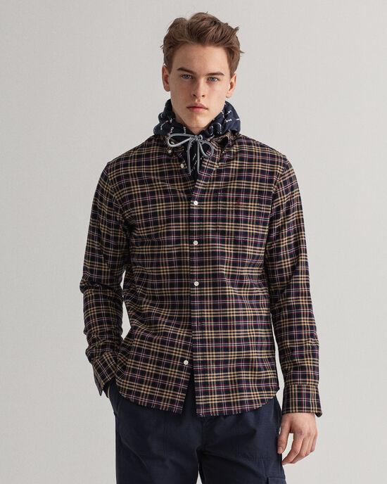 Regular fit rutig borstad oxfordskjorta