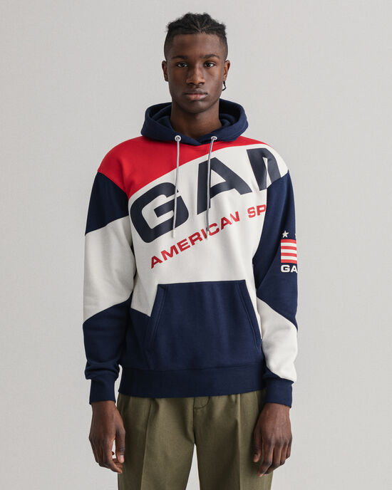 Retro Shield blockfärgad hoodie