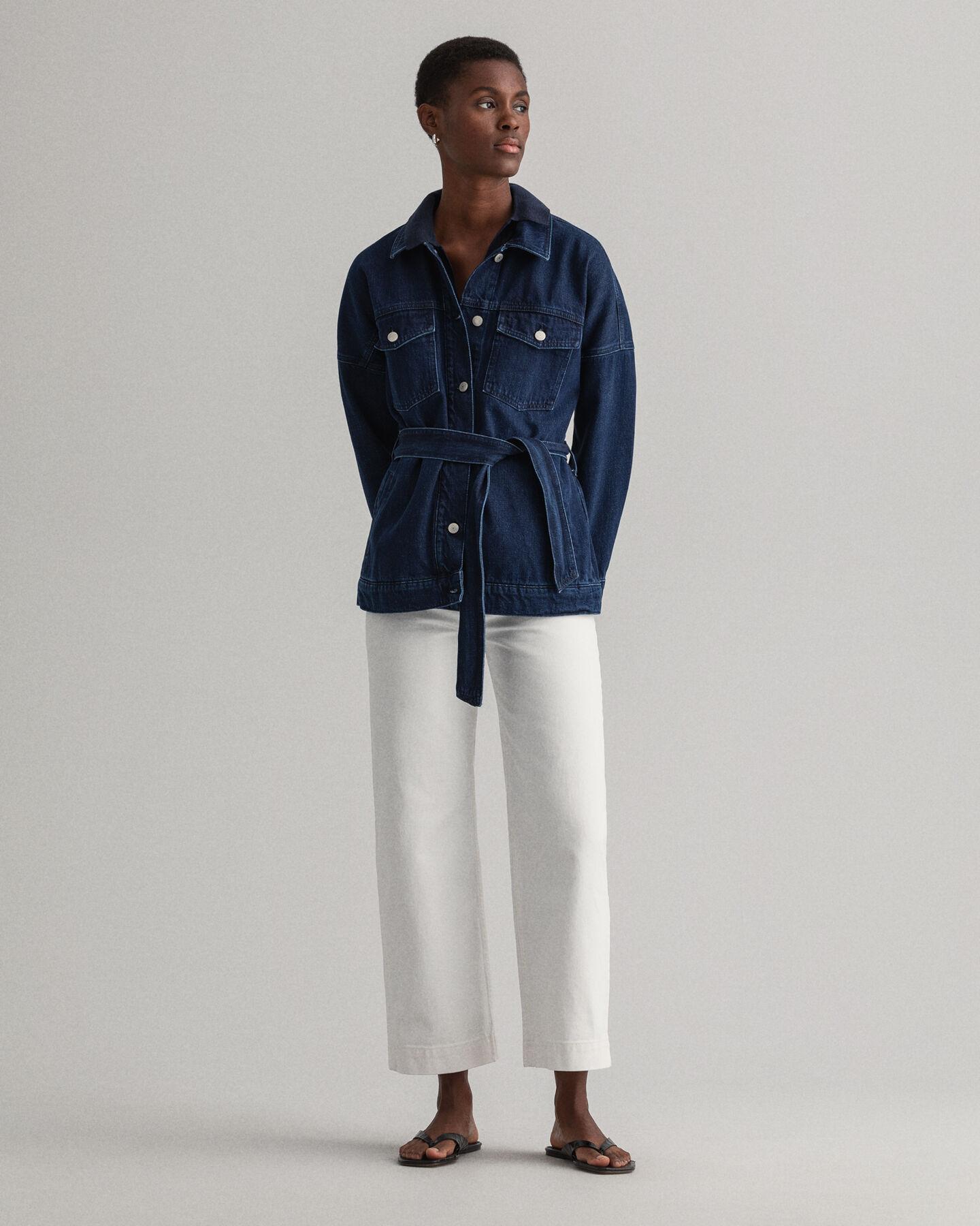 Oversized jeansjacka med bälte