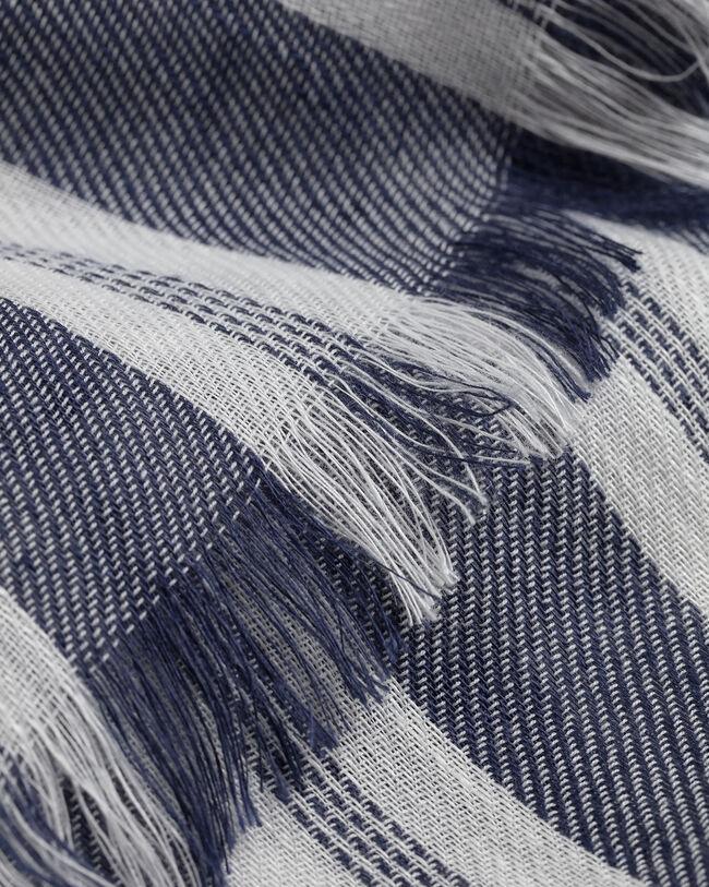 Randig scarf i bomulls- och linneblandning