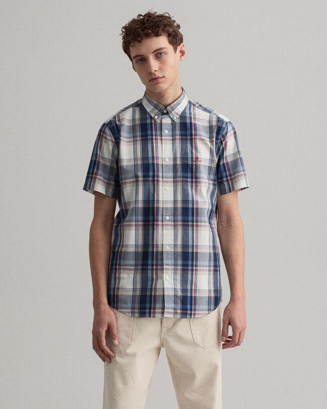 Regular Fit Tech Prep™ Short Sleeve Washed Indigo Plaid Shirt