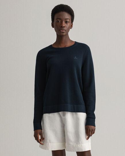 Rundhalsad tröja i bomullspiké