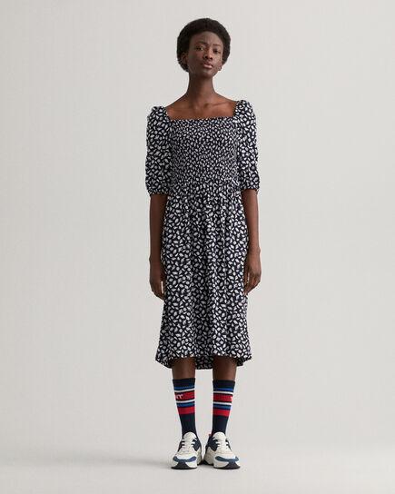 Off-Shoulder Shell mönstrad klänning