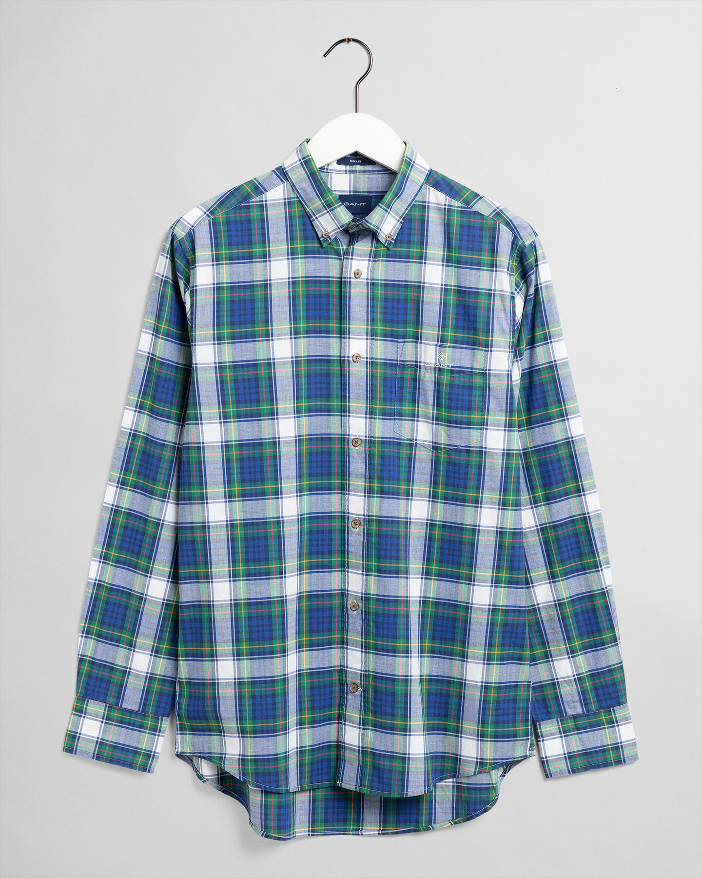 Regular fit rutig tvättad poplinskjorta