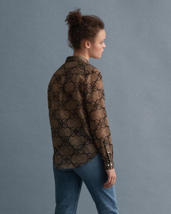 Rope mönstrad skjorta i bomull och silke
