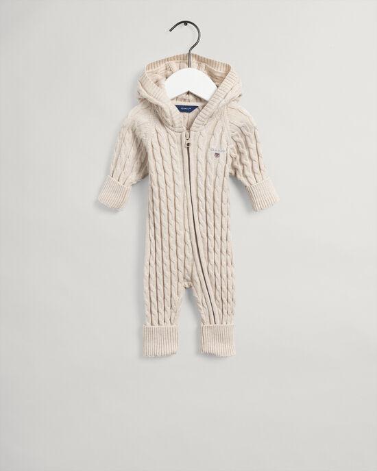 Baby flätstickad bomullsoverall med dragkedja