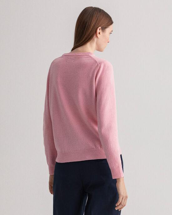 Rundhalsad tröja i superfin lammull
