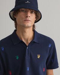 Flag Crest Embroidered Piqué Polo Shirt