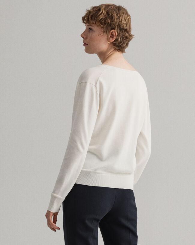 V-ringad tröja i lätt bomull