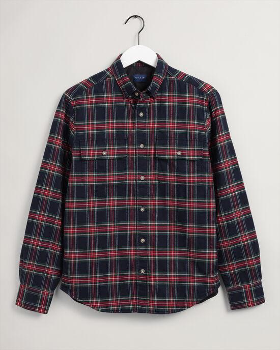 Rutig vadderad skjortjacka