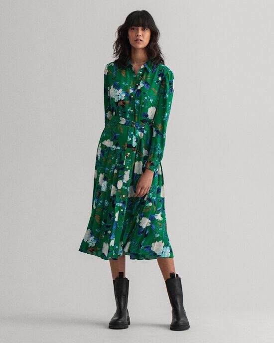 Rose mönstrad veckad klänning