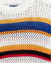 Randig stickad tröja med rund halsringning och öppen struktur