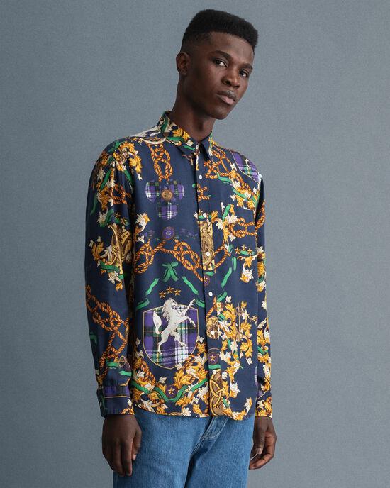 Relaxed fit kedjemönstrad lyocellskjorta